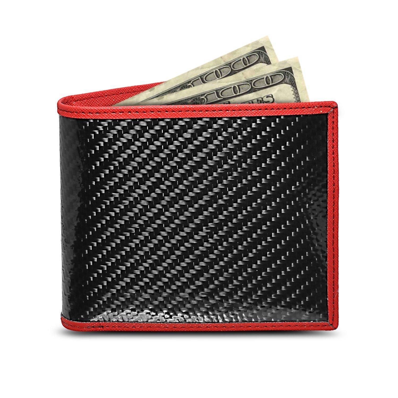 Real Genuine Black Carbon Fiber Wallet with Red Stitched Edge Bi-fold Wallet
