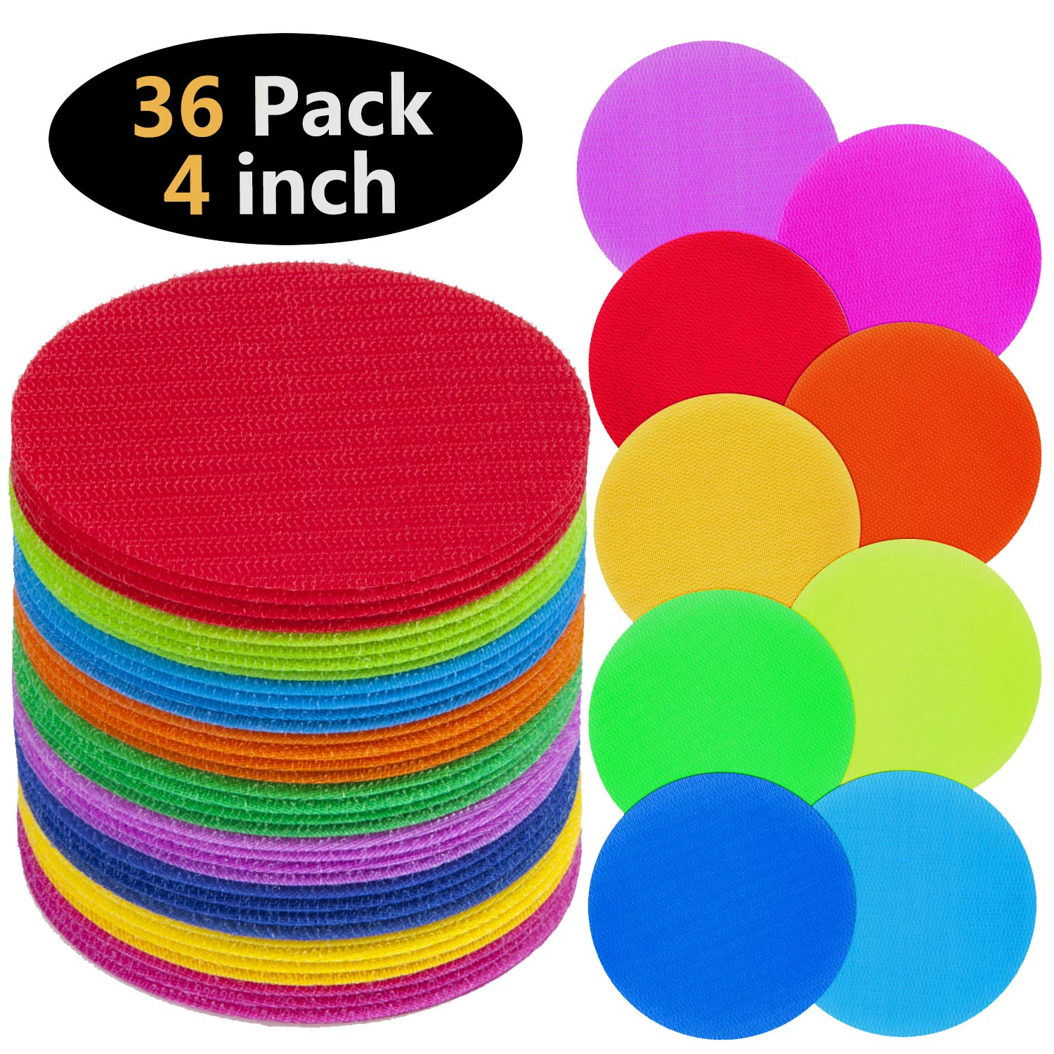 TABIGER Carpet Markers 36 PCS 9 Colors Sitting Floor Spots Hook and Loop Circles Dots for Teachers and Children in Kindergarten and Preschool Classrooms with Storage Bag by Tabiger