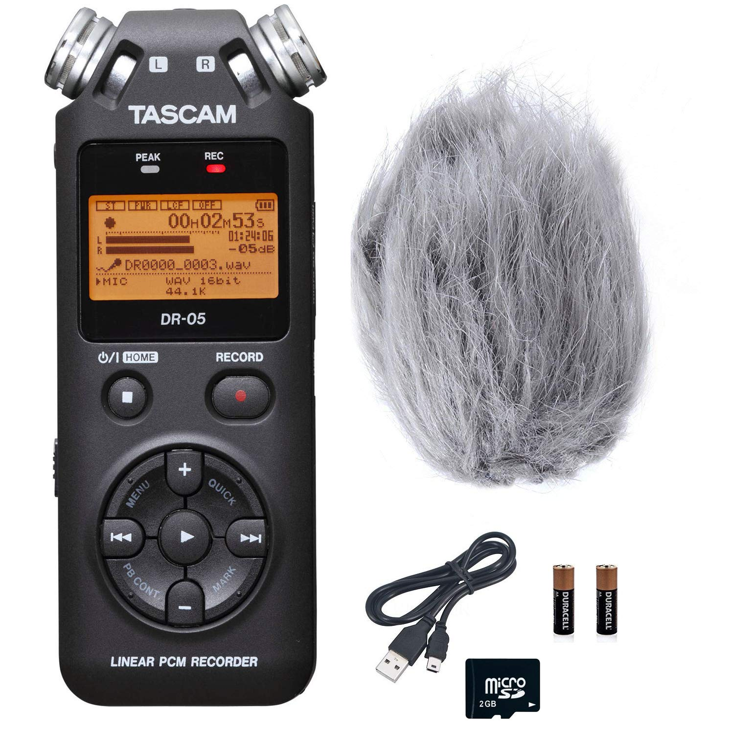 Tascam DR-05 Portable Handheld Digital Audio Recorder Bundle with Movo Deadcat Furry Outdoor Windshield (Version 2 / Black)