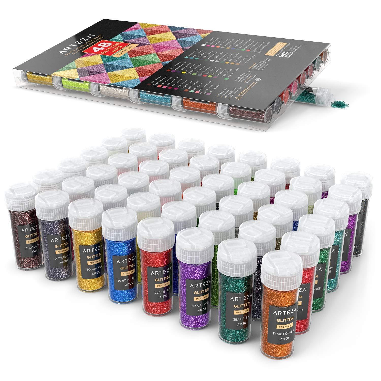 ARTEZA Fine Glitter, Set of 48 Colors, Shaker Jars (0.34oz/9.6 g) Glow Under UV Black Light, Extra Fine, All Purpose for Body, Face, Slime, Crafts by ARTEZA (Image #5)