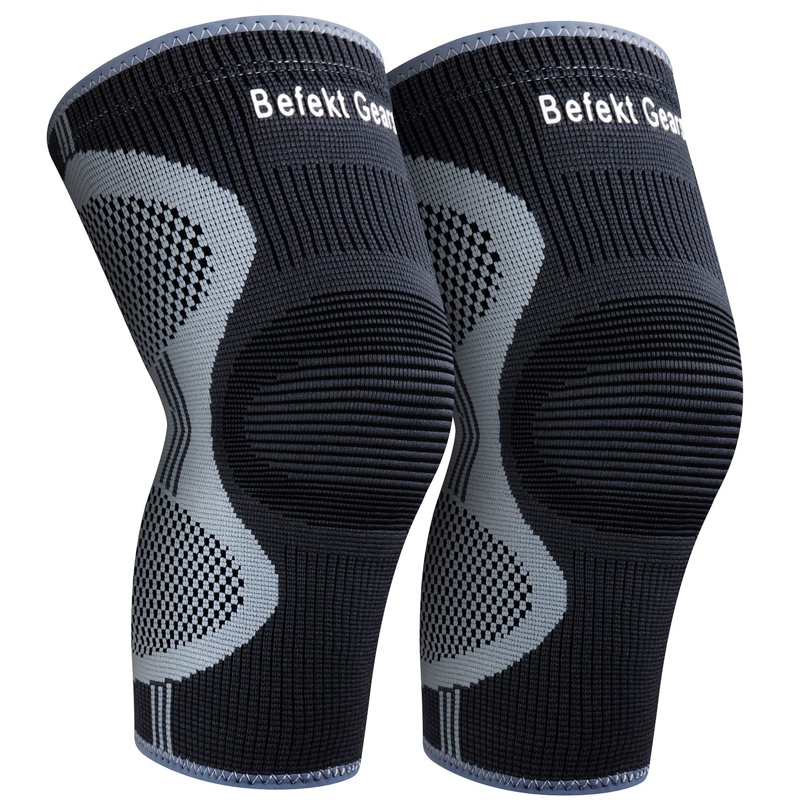 Befekt Gears Knee Support for Men Women, [2 Pack] Breathable Anti-Slip Knee Brace Compression Sleeve - Ideal for Arthritis, ACL, Meniscus Tear, Knee Pain Relief & Injury Rehabilitation Sports