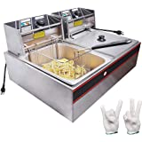 WeChef Commercial Deep Fryer 24L 5000W with Dual Tank Baskets Stainless Steel Electric Countertop Fryer for Restaurant
