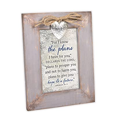 Cottage Garden For I Know The Plans Hope Future Grey Distressed Locket  Easel Back Picture Frame