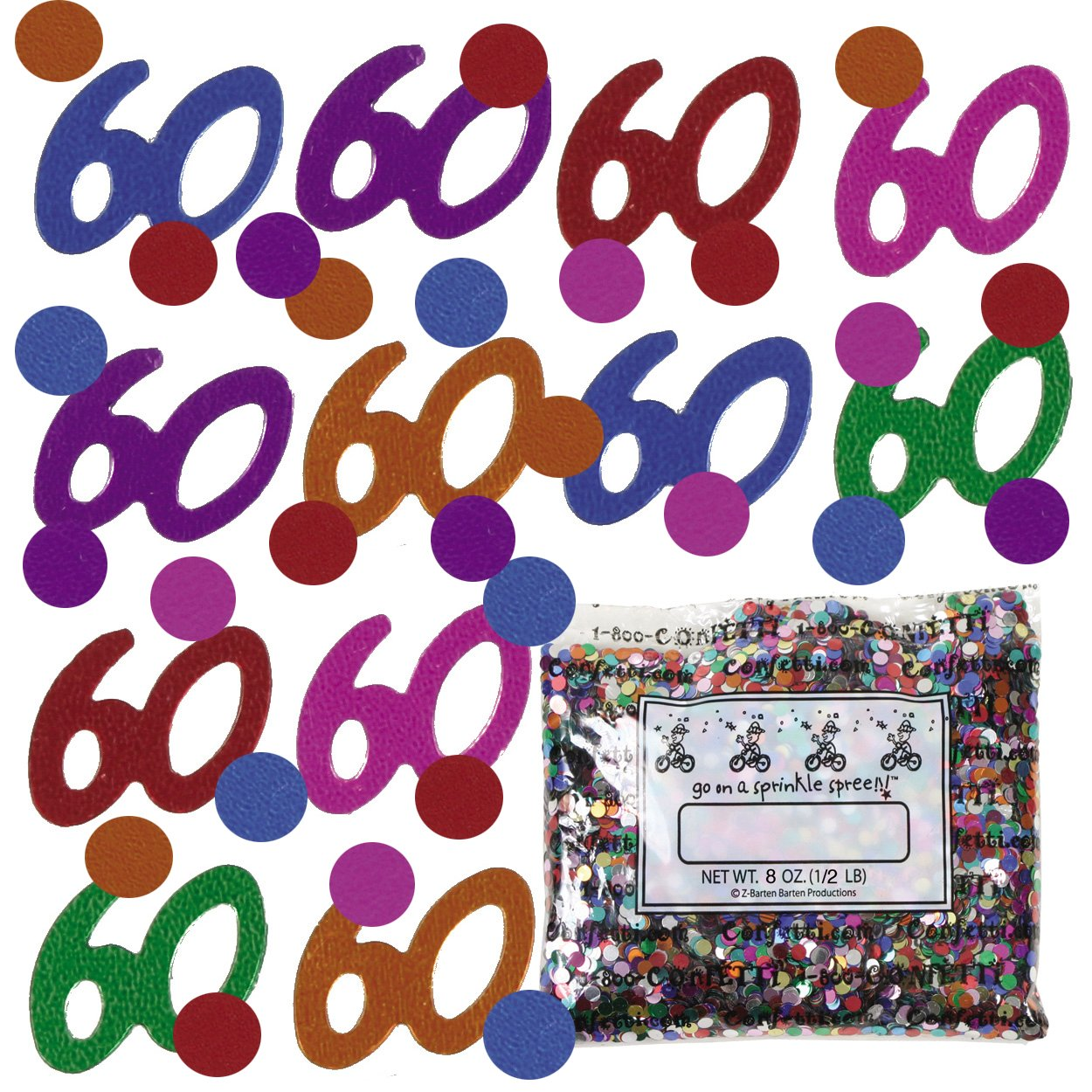 Confetti Mix - 60s & Circles Multicolors - One Pound - Free Priority Mail- (9005)