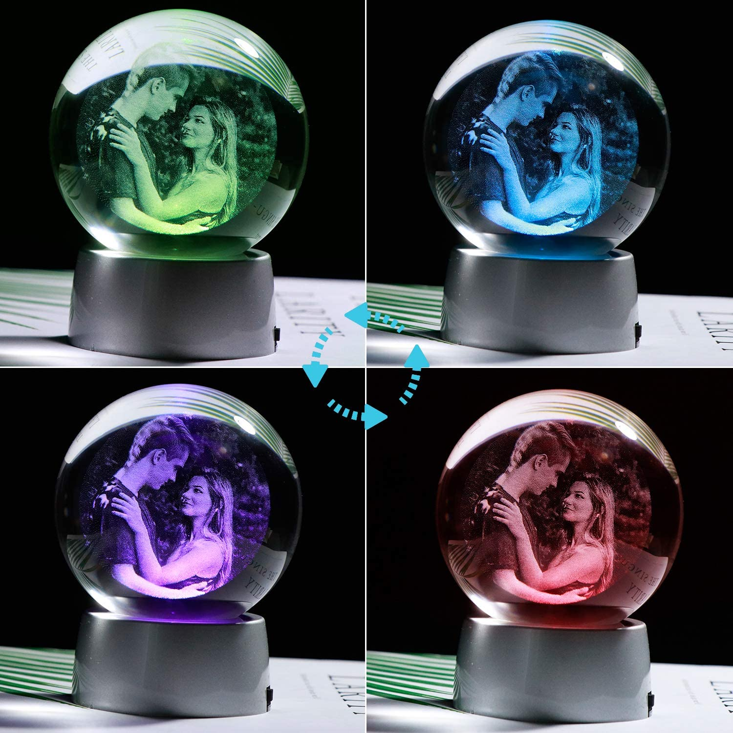 YWHL Personalized Photo 2D 70mm Crystal Ball with Colorful LED Base Etched Engraved Inside