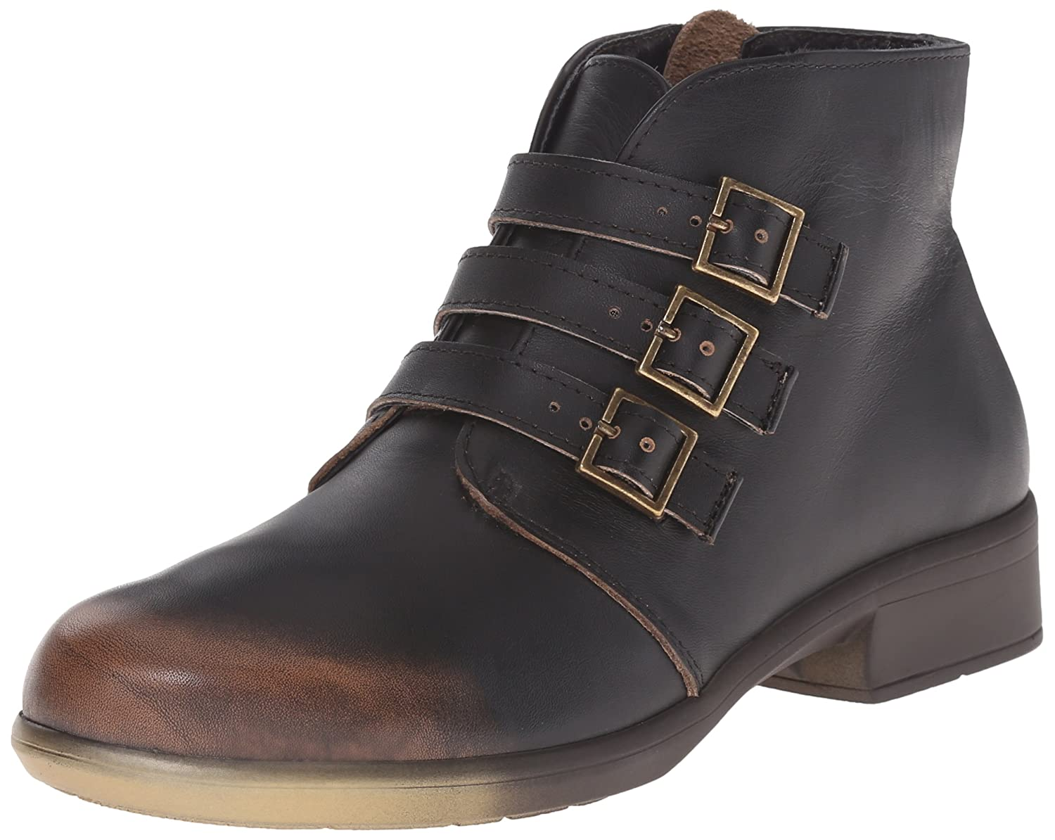 NAOT Women's Calima Boot B00TQA8ZKW 37 EU/6-6.5 M US|Volcanic Brown Leather W/Gold & Brown Sole