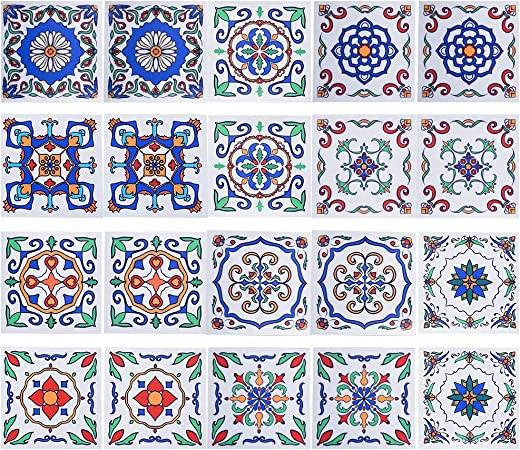 20Pcs Tile Stickers 6in*6in DIY Creative Traditional Tile Decals for Kitchen /& Bathroom Wall Tiles Irich Blue Flower Pattern Self Adhesive Tile Transfers Stickers
