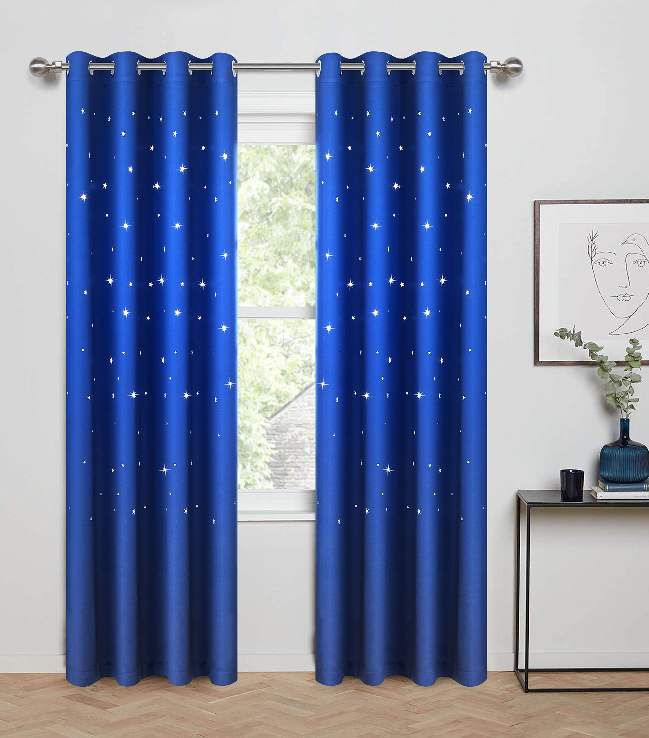 Anjee Blackout Curtains with Die Cut Stars for Bedroom-Starry Night Sleep-Enhancing Cosmic Themed Twinkle Drapes for Baby Nursery, Light Blocking Draperies (2-Panel W52 x L84 Inch, Royal Blue) by Anjee