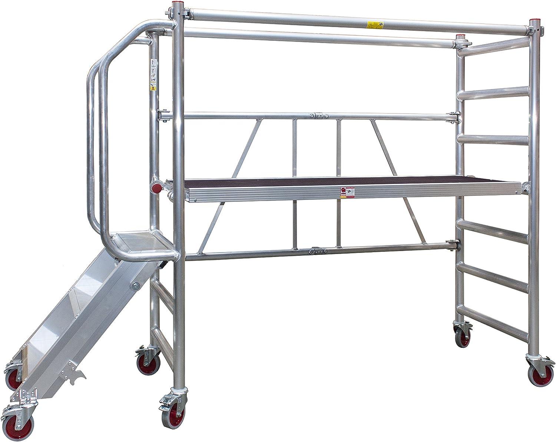 Jumbo - Rodamiento con escaleras y barandillas (altura de trabajo de hasta 3 m): Amazon.es: Bricolaje y herramientas