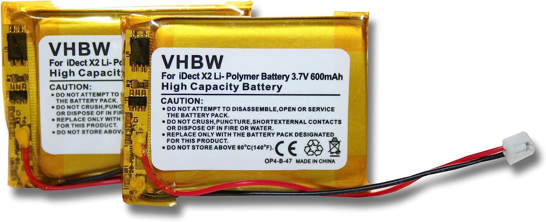 Set x 2 baterías vhbw 500mAh para teléfono Fijo inalámbrico iDect X2, X2d, X2i, X2di, M1, M2 por MT LP053040, CP75