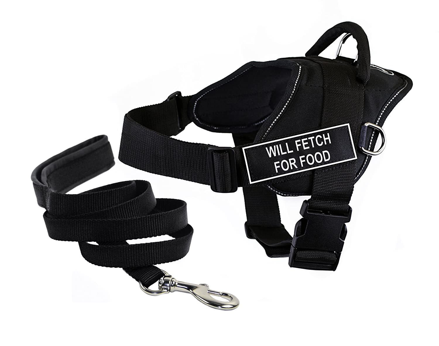 Dean & Tyler's DT Fun WILL FETCH FOR FOOD Harness with Reflective Trim, Large, And 6 ft Padded Puppy Leash.