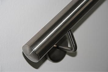 UNGETEILT 5300 mm Edelstahl Handlauf V2A 42,4mm 240K geschliffen Wandhandlauf mit leicht gew/ölbter Endkappe