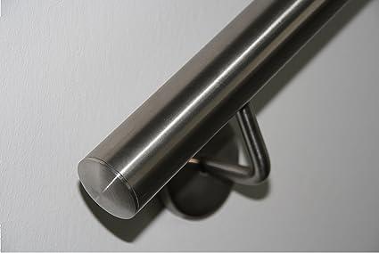 Pasamanos de acero inoxidable V2A de 42,4 mm pulido en grano 240, pasamanos de pared de dividido con tapas ligeramente curvadas