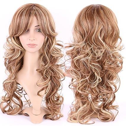 S-noilite Vogue mujer largo peluca Natural ondulado Cury Fibra Kanekalon Cabello Rubio Marrón Mezcla