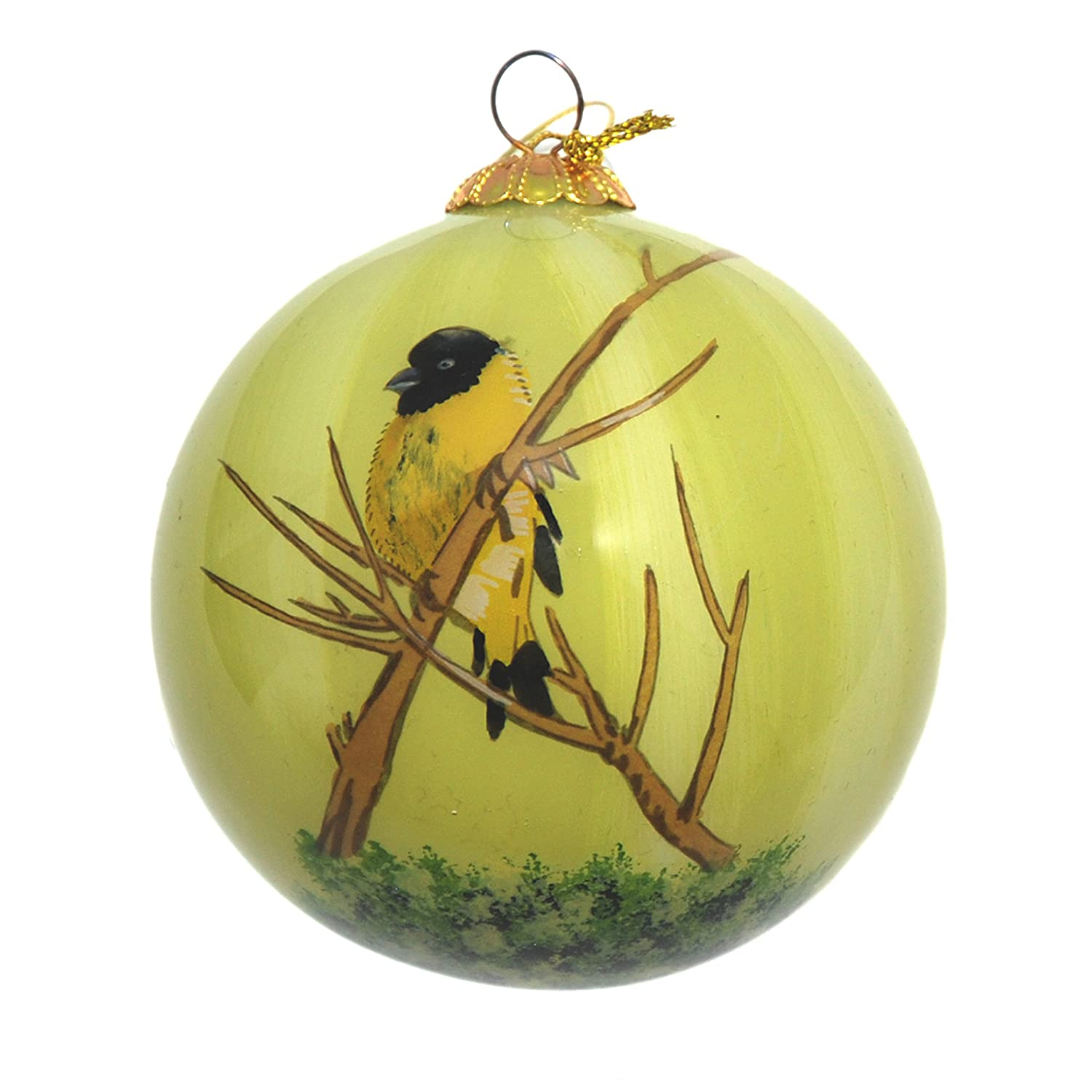 Hand Painted Glass Christmas Ornament - Yellow Finch