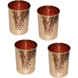 Handmade pure Copper glass cup for water india (Pack of 2)