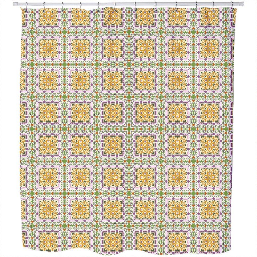 Uneekee Oriental Tile Shower Curtain: Large Waterproof Luxurious Bathroom Design Woven Fabric