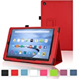 """easyDigital® All-New Amazon Fire HD 8 Tablet Case (8"""" Tablet, 7th Generation - 2017 release) Cover (Only fit with Fire HD 8 With Alexa Version) Auto Sleep / Wake Premium Slim PU Leather Folding Standing Protective Cover Case for Amazon Kindle Fire HD 8, 8'' HD Display 2017 model (Wi-Fi 8GB,16GB,32GB Models) (RED)"""