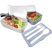 NERTHUS FIH 666 Lunch Box hermético Doble con Cubiertos, Blanco y Azul