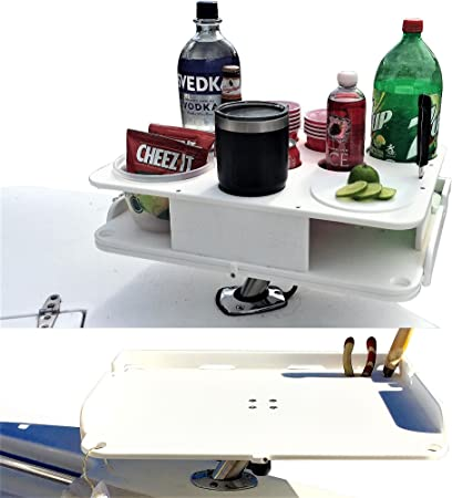 Docktail Bar Bait Cutting Board Table with Adjustable Fishing Rod - Pole Holder Mount and Boat Bar Table Knife Pliers Holder Accessories - Large Marine Tray Prep Area to Cut Bait - Fillet Fish