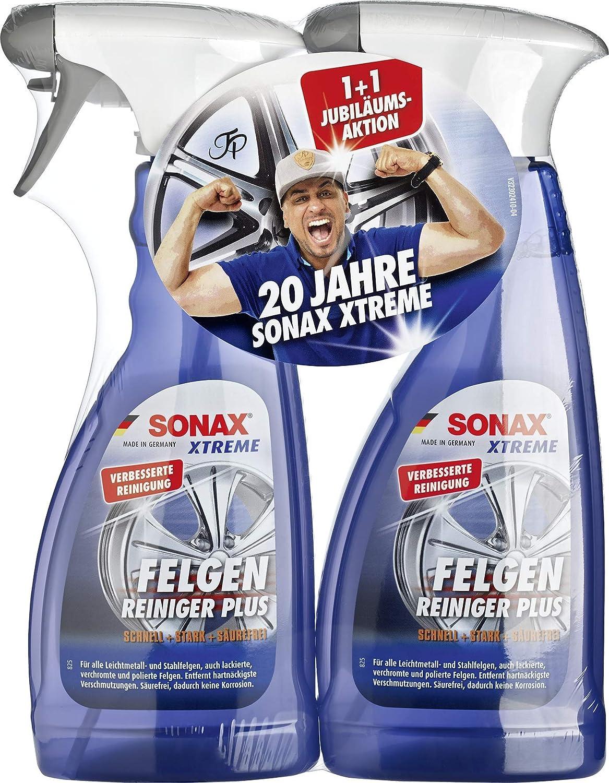 SONAX 2x XTREME Felgenreiniger PLUS (500 ml) effiziente & säurefreie Reinigung aller Leichtmetall- und Stahlfelgen sowie lackierte - Felgenreiniger
