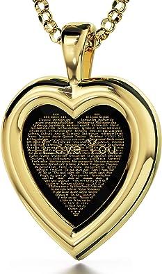 24K Gold Filled Necklace Love Heart Pendent Necklace Set Gift for you Gift For Her Heart Necklace Set Gold  Pendent Necklace