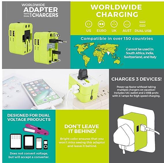 Amazon.com: Travelon todo el mundo adaptador con cargador ...