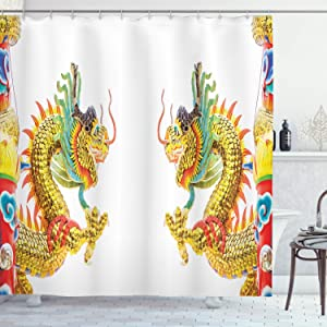 "Ambesonne Dragon Shower Curtain, Chinese Style Dragon Power Oriental Culture Theme, Cloth Fabric Bathroom Decor Set with Hooks, 70"" Long, Yellow Orange"