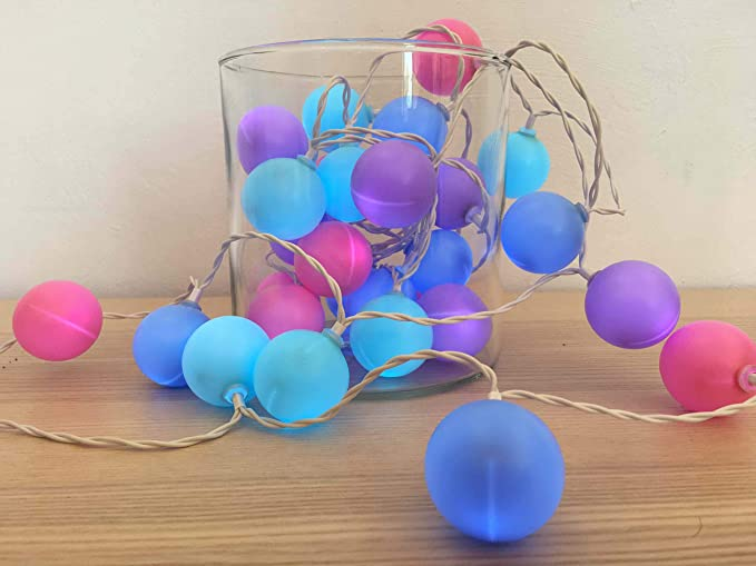 Guirlande Lumineuse Intérieure I 30 Balles Multicolores Couleur Rose Bleu  Violet I LED Blanc Chaud I Longueur de 3m50 I Alimentation USB I Déco ...