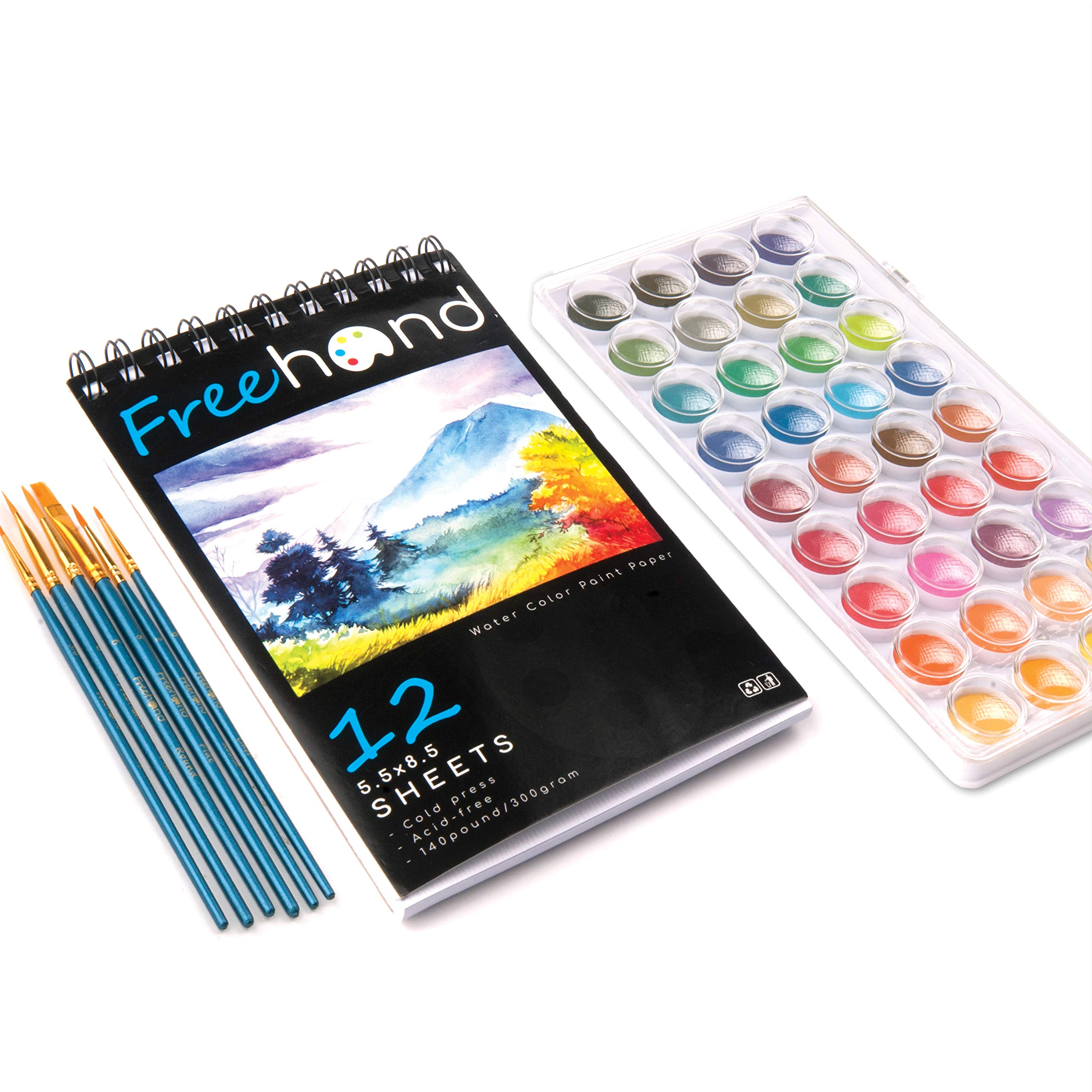 Water Color Paint Set - 36 Premium Water Color Paints - 12 Page Water Color Paint Pad - 6 Paint Brushes - Art Supplies for Teens, Adults & Kids