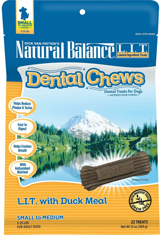 Natural Balance L.I.T. Dental Chews Duck Dog Treats, Small, 13 Ounce, 12 Pack