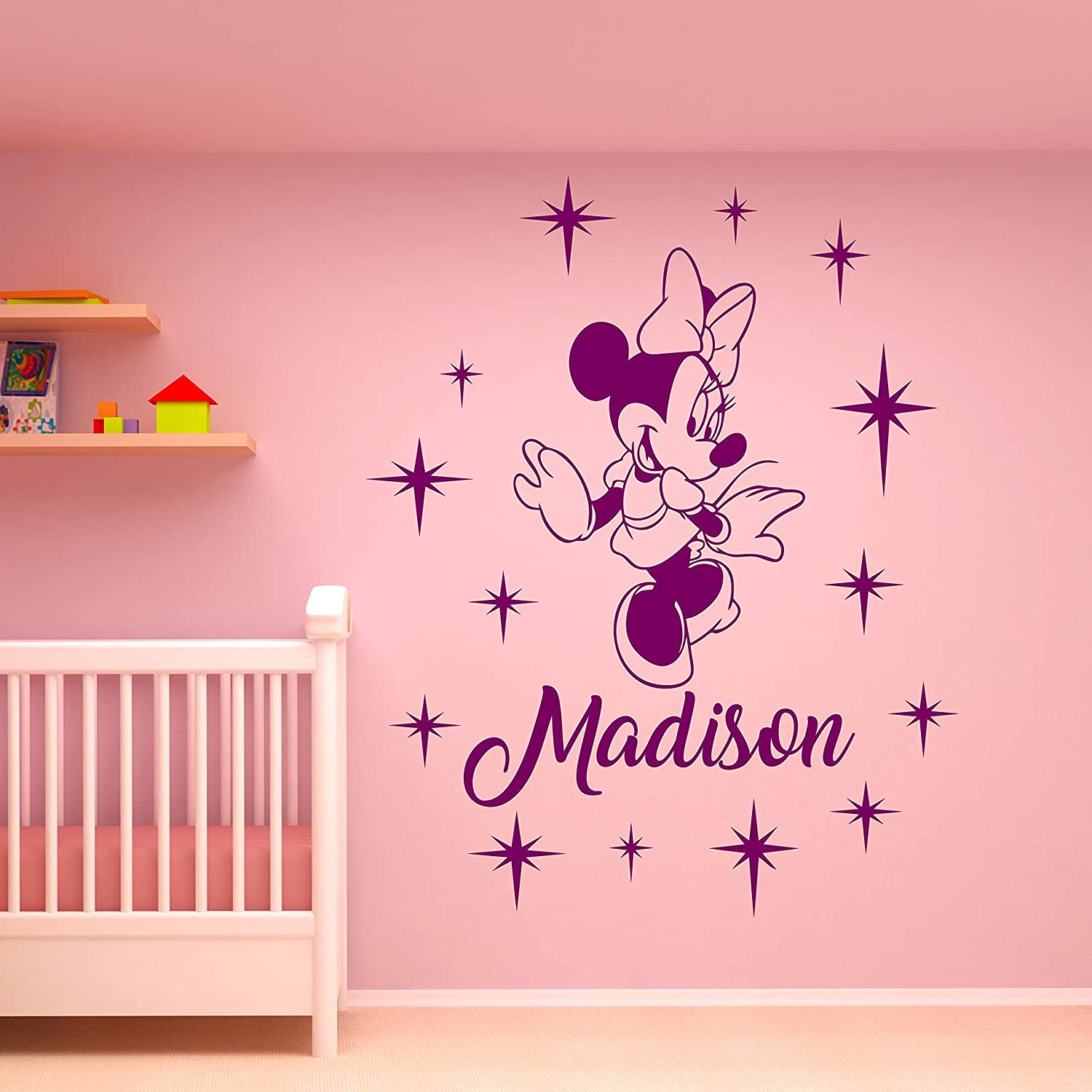 Personalized Baby Name Wall Decal Minnie Mouse Custom Decals Mural Decors Cartoon Vinyl Stickers Kids Baby Girls Room Nursery Wall Art Decor M