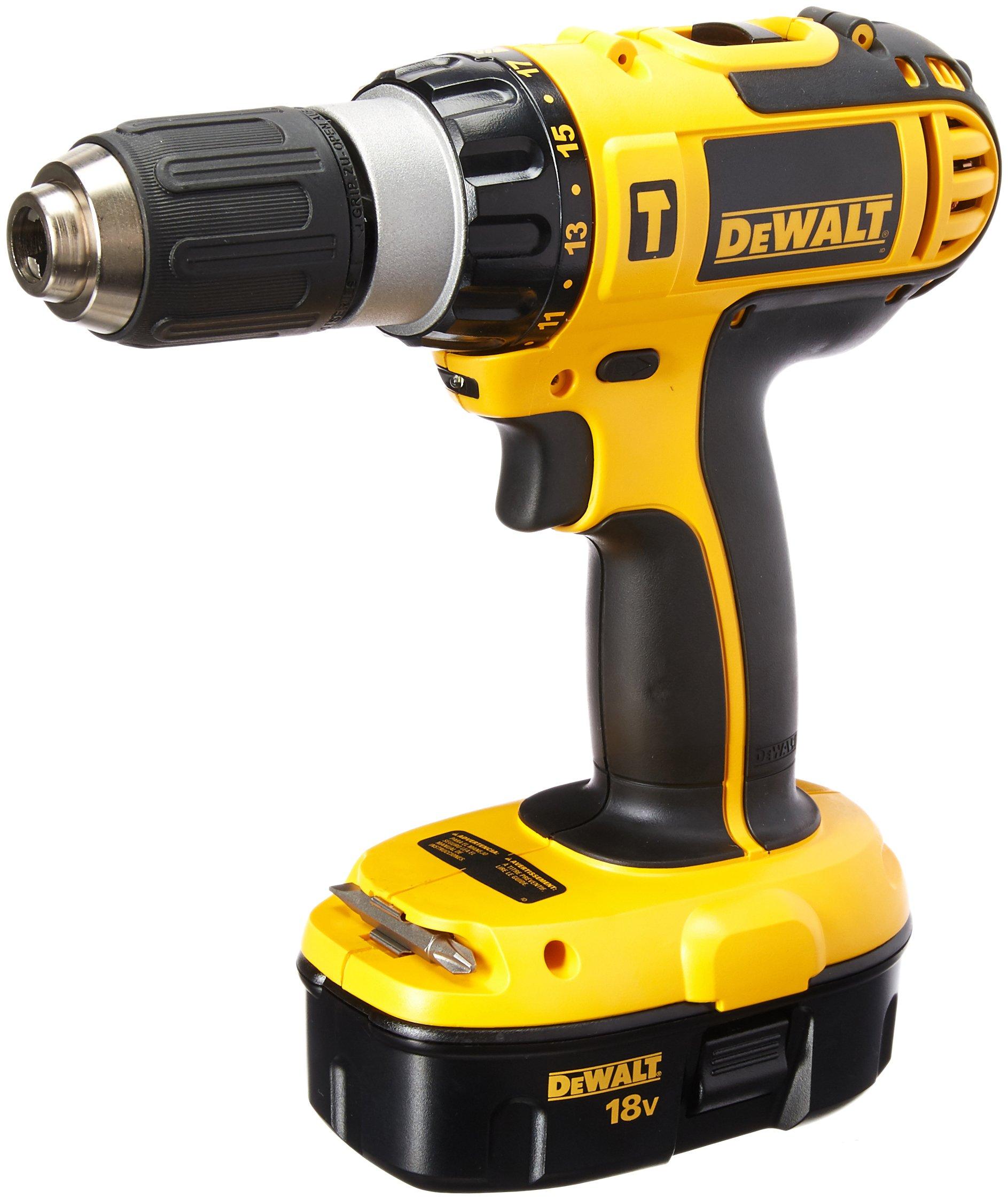 DEWALT DC725K-2, 18-Volt Ni-Cad 1/2 in. Cordless Compact Hammer Drill