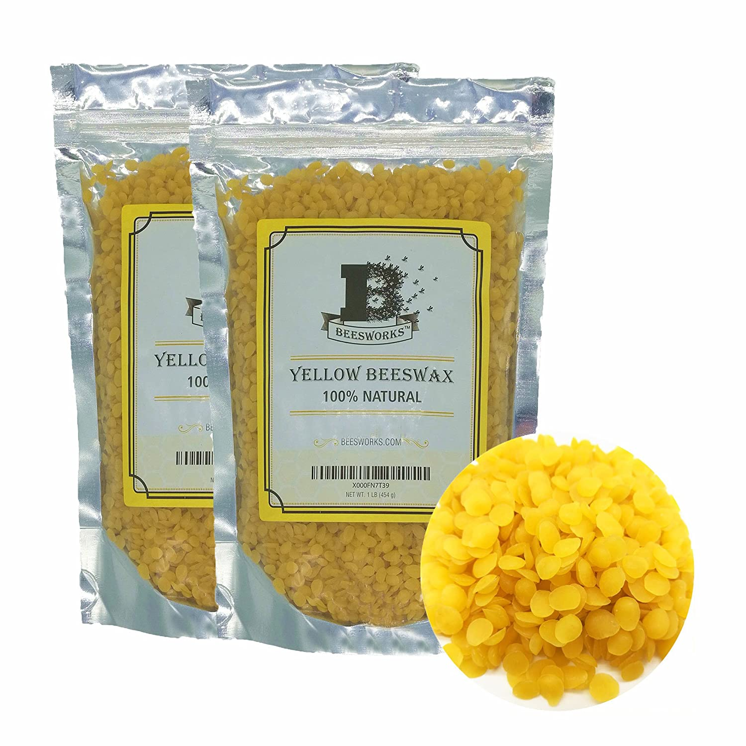 Yellow Beeswax Pellets 2lb-by Beesworks -Pack of (2) 1lb Packages - Cosmetic Grade-Premium Quality for Many Uses 4336841640