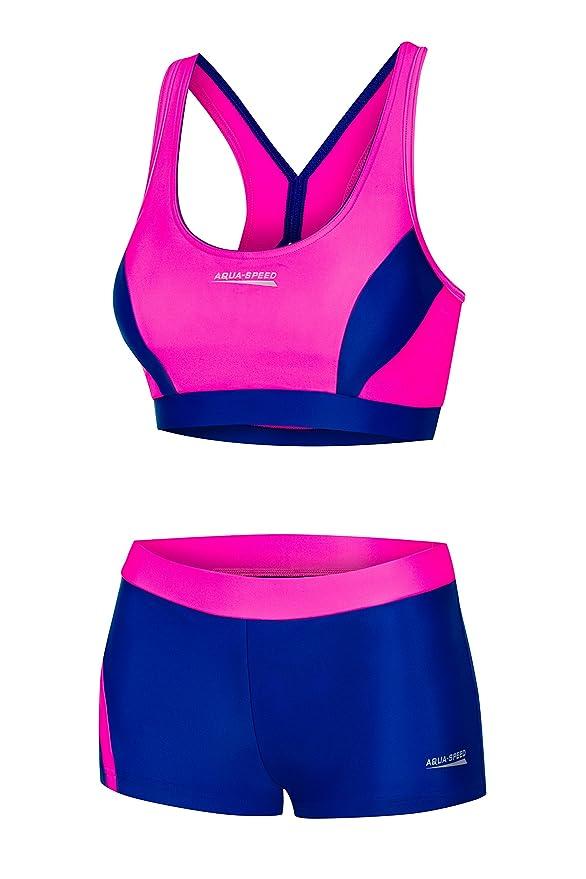 Bikini deportivo rosa neón para mujer