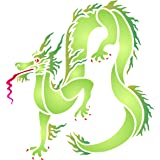 "Dragon Stencil - (size 14""w x 14""h) Reusable Wall Stencils for Painting - Best Quality Chinese Dragon Wall Stencil Ideas - Use on Walls, Floors, Fabrics, Glass, Wood, Terracotta, and More…"
