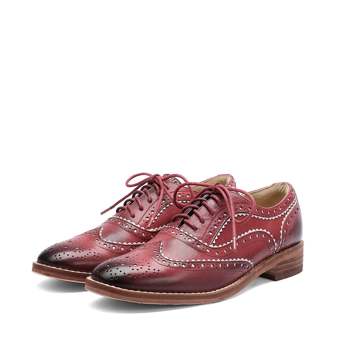 bed02526384b9 MANRINO Breathable Real Leather Upper Perforated Lace Up Wingtip Womens  Oxford Flats Saddle Shoes