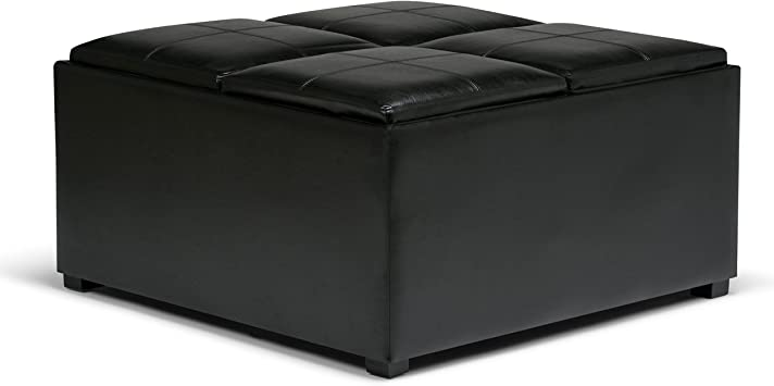 Simpli Home Avalon 35 Inch Wide Square Coffee Table Lift Top Storage Ottoman Cocktail Footrest Stool In Upholstered Midnight Black Faux Leather For The Living Room Contemporary Furniture Decor