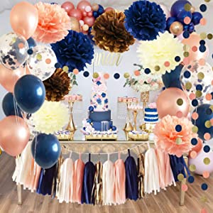 Bridal Shower Decorations Navy Rose Gold Balloons Qian's Party Navy Peach Wedding/Bachelorette Party Decorations 18th/30th/40th/50th Birthday Party Decorations for Women/Gender Reveal Party Supplies