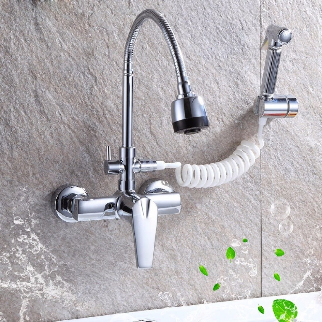 ETERNAL QUALITY Bathroom Sink Basin Tap Brass Mixer Tap Washroom Mixer Faucet The wall-copper cold water kitchen faucet Single Handle Wall mounted sink laundry pool can t