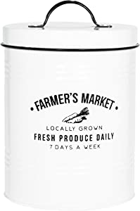 Amici Home, , Farmers Market Metal Storage Canister, 76 oz, White