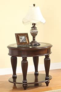 Furniture of America Elnas Glass Top with Design End Table, Dark Cherry