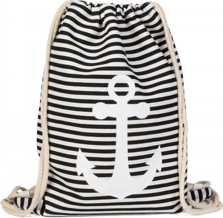 styleBREAKER bolsa de deporte unisex 02012052 Color Fucsia-blanco//Marino Rosa mochila con dise/ño marinero con rayas y estampado de ancla
