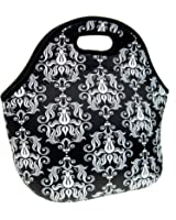 Damask Neoprene Lunch Tote Bag - Insulated Waterproof Lunch Box for Women, Adults, Kids, Girls, and Teen Girls