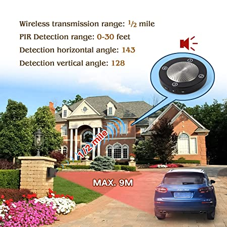 1 2 Mile Long Range Solar Wireless Driveway Alarm Outdoor Weather Resistant Motion Sensor Detector- NO DIY Security Alert System- Monitor Protect Outside Property 1Receiver 1 Sensor