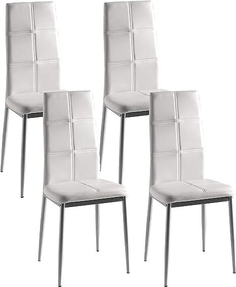 Miroytengo Pack 4 sillas Corpa Comedor Color Blanco Estilo Moderno ...