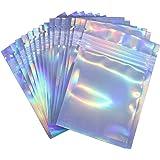 Paquete de 100 bolsas resellables a prueba de olores, bolsas de plástico con cierre de cremallera, bolsas planas transparente