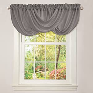 "Lush Decor Lucia Valance | Draped Soft Brushed Fabric, Window Kitchen Curtain (Single), 18"" x 42"", Gray"