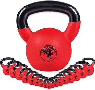 Gorilla Sports Kettlebell Ergonomique en Fonte avec rev/êtement en Vinyle de 4 /à 32kg