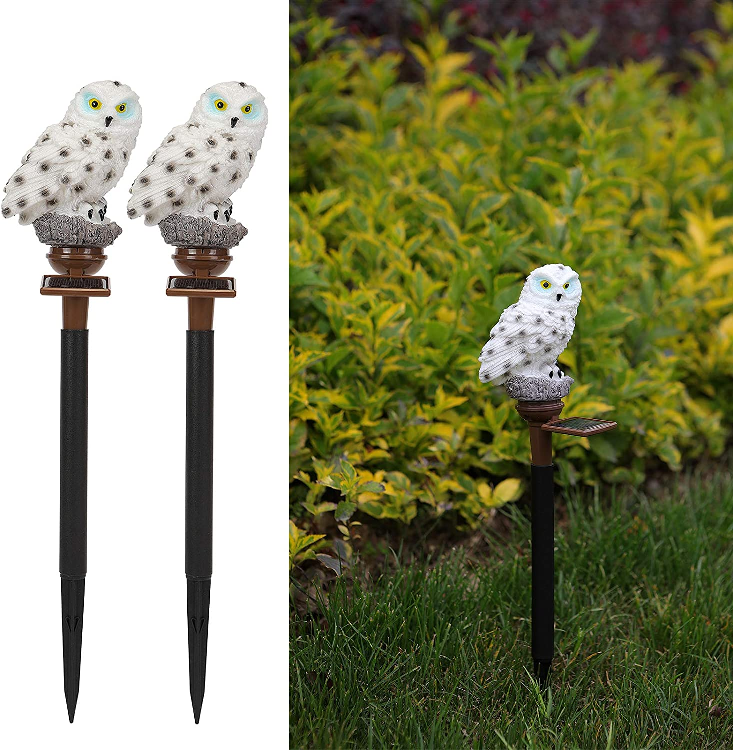 2 Pack Ostritec Garden Solar Lights Outdoor , Owl Solar Lights with Stake for Garden Lawn Pathway Walkway Yard Decorations(Warm White)